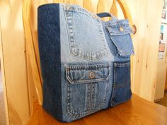 Upcycled Denim Tote Bag / Casual Tote Bag / by WintertimeDesigns