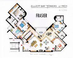 """""""Frasier"""" House Plan.  Psychiatrist Dr. Frasier Crane lived in fictional Elliott Bay Towers in Seattle."""