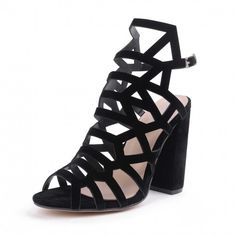 34bc8221f72ab Women s Sexy Black Fish Mouth Suede Hollow Buckle Casual Sandals -  TheCelebrityDresses Flat Prom Shoes