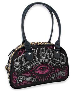 Liquor Brand Handtasche Stay Gold.Tattoo,Pin up,Oldschool,Rockabilly Styles