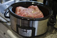 #paleo Slow-Cooker Italian Pork Roast: 5-7 pound pork roast, boneless or bone in (shoulder, Boston butt… ribs would work, too); 5-7 cloves garlic, cut into slivers; 1 tablespoon salt; 1 tablespoon Penzeys Italian Herb Mix (or 1 teaspoon each dried oregano+dried basil+dried rosemary)