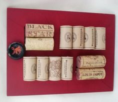 Red Cork Board Wine Art Upcycled Corks Bar kitchen by amorevivo