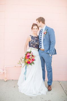 Bright wedding perfection: http://www.stylemepretty.com/2014/09/09/modern-and-preppy-elopement-shoot/ | Photography: Aly Carroll - http://alycarroll.com/ Bridesmaid Seperates, Wedding Seperates, Bridesmaid Dress, Wedding Attire, Elopement Wedding, Wedding Gowns, Casual Wedding, Alternative Wedding, Blue Wedding