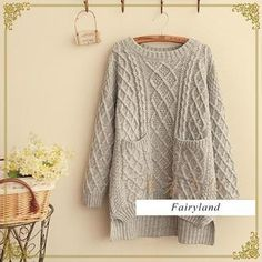 Cable Knit Dual Pocket Sweater from #YesStyle <3 Fairyland YesStyle.com