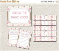 ON SALE Shabby Chic Baby Shower  GUESS the Baby by PixieBabyShower