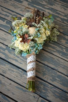 Wedding flowers Bride bouquet Fall wedding flowers Yellow, blue, burlap Photos by c koop photography