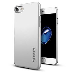 iPhone 7 Case Spigen [Thin Fit] Exact-Fit [Satin Silver] Premium Matte Finish Hard Case for iPhone 7  (042CS20733)