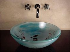 Katie Cherry Blossom Round Glass Basin x in) Hand painted with a use of a pattern, translucent with minimal uses of blue Glass Basin, Glass Vessel Sinks, White Polish, Asian Home Decor, Home Decor Styles, Home Furnishings, Round Glass, House Design, Asian Style