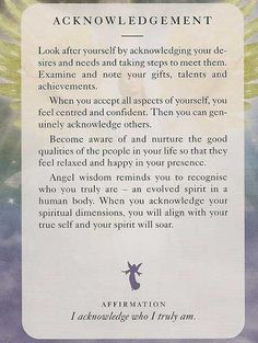 Angel Card: 01 July 2013:  Acknowledgement