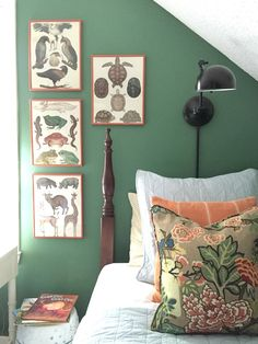Raleigh Green by Benjamin Moore (boy girl bedroom, swing arm lamp, poster bed, animal prints)