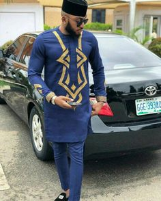 Blue African men's suit, African men's clothing, African wedding suit, wedding guests suit, African – For Women African Male Suits, African Dresses Men, African Attire For Men, African Clothing For Men, African Shirts, African Men Fashion, Africa Fashion, African Wear, Mens Fashion