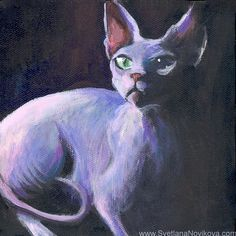 sphynx cat acrylic painting art, via Flickr. ...BTW,Check this out: http://artcaffeine.imobileappsys.com