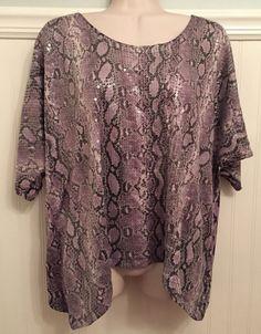 MICHAEL KORS Size L SEQUIN SNAKE Print BLOUSE Purple EUC #MichaelKors #Blouse