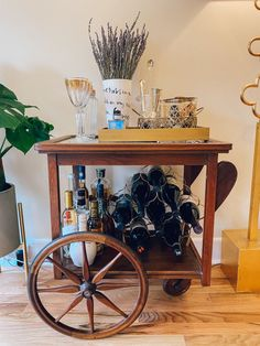 Check out this Warm, Bohemian, International Small/Cool Space Vintage Bar Carts, Vintage Shops, Space Names, Wine Cart, Vintage Dressers, Home Repair, Interior Design Kitchen, Me As A Girlfriend, Apartment Therapy