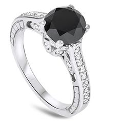 2.69CT Vintage Black Diamond Engagement Ring 14K White Goldby Pompeii3 Inc. http://blackdiamondgemstone.com/jewelry/wedding-anniversary/engagement-rings/269ct-vintage-black-diamond-engagement-ring-14k-white-gold-com/