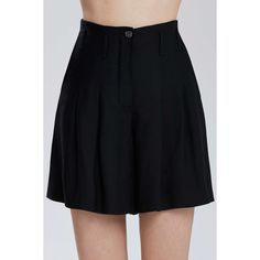 Vintage Chanel Rive Shorts (652 CAD) ❤ liked on Polyvore featuring shorts, zipper pocket shorts, zipper shorts, pleated black shorts, pleated shorts and pocket shorts