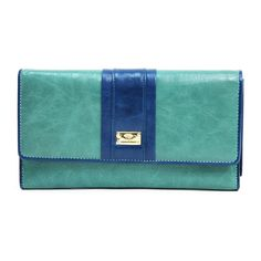 Anais Gvani Women's Classic Genuine Leather Tri-fold Wallet w/ Color Blocking - Light Green / Blue