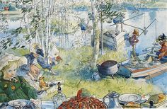 """Watercolor """"The Crayfish Season Opens"""" by Carl Larsson – swedish painter and interior designer. Carl Larsson, Art And Illustration, Photos Hd, Swedish Style, Scandinavian Art, Oil Painting Reproductions, Arts And Crafts Movement, Museum Of Fine Arts, Canvas Art Prints"""