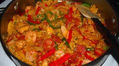 {Paella} ..Chicken, Shrimp, Chorizo made with whole grain brown rice.
