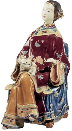 """XoticBrands 10.5"""" Lady Chan Porcelain Sculpture Asian Chinese Collectible Sculpture Statue : Chinese Porcelain Statues"""
