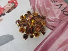 Vintage French Cut Glass Brooch 1950's 1960's Chic / 1950's Fashion / Vintage Chic Accessory / Vintage Jewelry by SweetVintageDream on Etsy