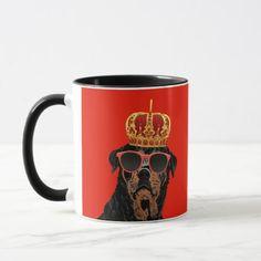 Thug Life King Rottweiler for Rottweiler Parents Mug   rottweiler names, doberman rottweiler mix, rottweiler german #rottweilers #rottweilertales #rottweilerfan Rottweiler Funny, Rottweiler Puppies, Thug Life, Funny Mugs, Dog Paws, Doberman, Dog Lovers, Parents, King