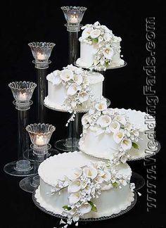 4 tier cascade wedding cake stand
