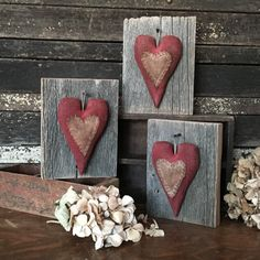 Primitive Valentine Heart Barn Wood Folk Art by rockriverstitches