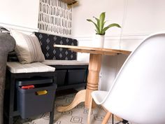 Post Image Small Space Living, Small Spaces, Living Spaces, Yellow Kids Rooms, Ikea Bench, Dining Nook, House Beds, Hidden Storage, Living Room Grey