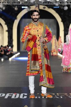 Colorful sherwani by Nomi Ansari at PFDC Bridal Fashion Week 2013