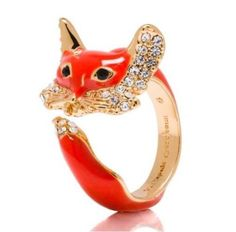 Kate-Spade-O0RU1469-Womens-In-the-Woods-Red-Fox-Gold-tone-Ring-Size-7-NEW