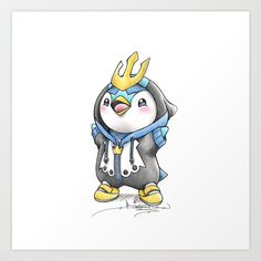 """When I grow up"" Piplup in an Empoleon onesie"