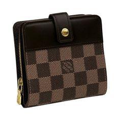 Men Louis Vuitton Damier Ebene Canvas Zipped Compact Wallet Brown N61668