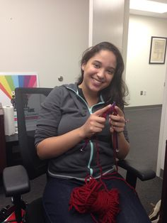 Intern extraordinaire Adelin Burgos is excited to learn how to #KnitABrick for Catherine. Thank you for sponsoring! Remember, you can be a secular #craftivist even by sponsoring one of us to knit for you!