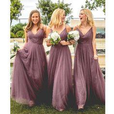 Tulle V Neck Affordable Floor Length Bridesmaid Dresses, BG51561