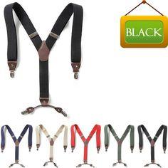 Mens Womens Faux Leather Elastic Suspenders Wide Suit Y-Back 4 Clip Braces BLACK #springsummerfallwinter