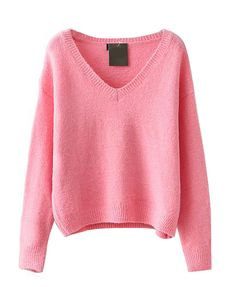 V-neckline Long Sleeves Pure Color Sweater