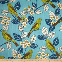 Home Accent Chickadee Robin's Egg from @fabricdotcom  Screen printed on 11 oz. basketweave cloth, this cotton fabric is perfect for heavier weight window treatments or upholstering and revitalizing an existing piece of furniture (headboards, ottoman, chairs, sofa, and love seat). For a great new look simply create a slipcover or accentuating toss pillows. Colors include shades of blue, lime, chocolate, yellow, and cream.