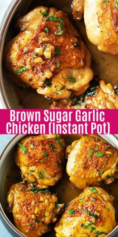 Pot Brown Sugar Garlic Chicken Mins Recipe) - Rasa Malaysia Juicy and fall-off-the-bone chicken thighs with brown sugar garlic sauce, pressure cooked in an Instant Pot for 8 mins. Instant Pot chicken dinner is so easy Brown Sugar Chicken, Garlic Chicken Recipes, Instantpot Chicken Recipes, Bone In Chicken Recipes, Easy Chicken Thigh Recipes, Instapot Chicken Thigh Recipe, Chicken Thigh Meals, Easy Sauce For Chicken, Delicious Chicken Recipes