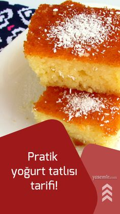 Pratik yoğurt tatlısı tarifi – Tatlı tarifleri – Las recetas más prácticas y fáciles Arabic Dessert, Arabic Sweets, Arabic Food, Yogurt Dessert, Dessert Bars, Dessert Recipes, Desserts, Turkish Baklava, Tasty