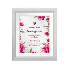 """Romantic Watercolor Flower Painting Design Personalized Wedding Instagram Sign 8"""" x 10"""" Print. Custom Frame - optional. Matching Wedding Party Invitations, Bridal Shower Invitations, Save the Date Cards, Wedding Postage Stamps, Bridesmaid to be Request Cards, Thank You Cards and other Wedding Stationery and Wedding Favors and Gifts available in the Traditional Design Category of the yourweddingday store at zazzle.com"""