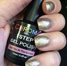 Sparkly Chroma Gel 1 Step Gel polish #chromagel #seeyouattheglobes #gelpolish #1stepgelpolish