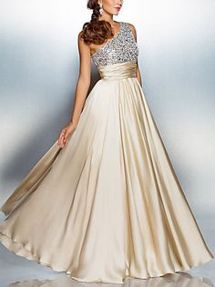 Sheath/Column One Shoulder Floor-length Satin Chiffon Evening/Prom Dress