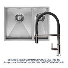 ZENDUO 340/180U 1.5 Bowl Sink with SPIRALE Chrome Tap with Black Hose