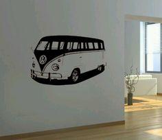 VW Bus wall art in black & white.
