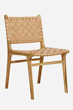 Leather Dining Chair, Strapping - Teak & Natural