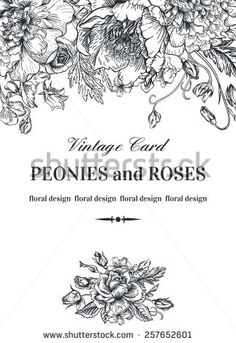 Vintage floral card with garden flowers. Peonies, roses, sweet peas, bell. Romantic background.  Black and white. Vector illustration.