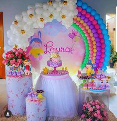Multifestas e Tal: Pocket Party Care Bear Birthday, Unicorn Themed Birthday Party, Little Pony Birthday Party, Rainbow Birthday Party, Baby Girl Birthday, 1st Birthday Girl Decorations, Rainbow Party Decorations, Girl Birthday Themes, Deco Baby Shower