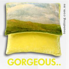 Chartreuse silk velvet cushion cover 50 x 50 From our homewares range, a decadent silk velvet cushion cover in bitter yellow 'Chartreuse'  the most gorgeous colour - with self piping. Great scatter cushion to team the 'Arles' cushion cover.. www.foundling.com.au