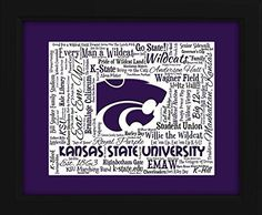 Kansas State University 16x20 Art Piece - Beautifully matted and framed behind glass. This is a beautiful, unique Art Piece inspired by Kansas State University and is the perfect gift for any true Wildcat fan. It is so unique and exclusive that it cannot be found anywhere else. The distinctive, full color artwork includes over 100 popular phrases, sayings and traditions along with listings of popular events, famous landmarks and other identifiers, to create an incredible lasting tribute…